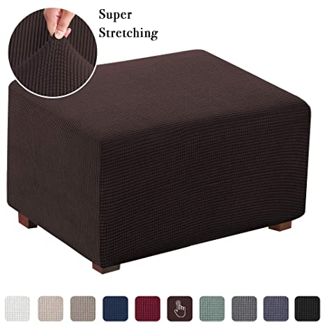 Spandex Pique Stretch Fit Rectangle Ottoman Furniture Cover//Slipcover-SAGE GREEN