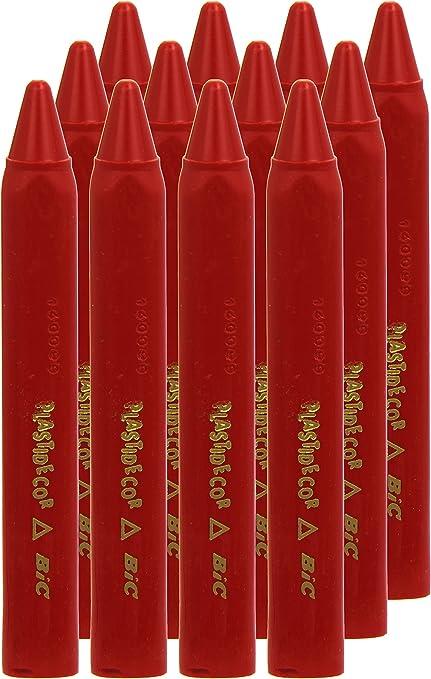 Plastidecor 816 - Ceras, caja de 12 unidades, color rojo: Amazon.es: Oficina y papelería