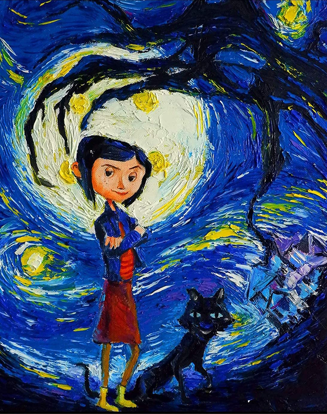 Amazon Com Coraline And Cat Vincent Van Gogh Starry Night Christmas Home 5d Full Drill Diamond Painting Kit Diy Diamond Rhinestone Painting Kits For Adults And Children Halloween 11 8x15 8in