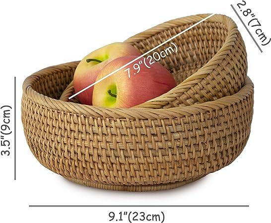 Plateau de rangement pour aliments de petit-d/éjeuner snack pour table /à caf/é Iycorish Bol de s/éparation rond en rotin tiss/é /à la main Lot de 2 : S + L c/ér/éales