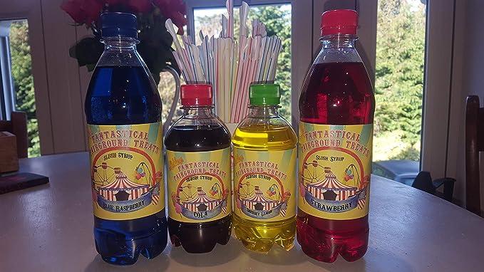 Navidad Regalo Niños Pack Slush Puppie estilo ice bebida Siropes con GRATIS Pajillas, Frambuesa Azul, Fresa, ácido Apple &ácido Cereza: Amazon.es: Alimentación y bebidas