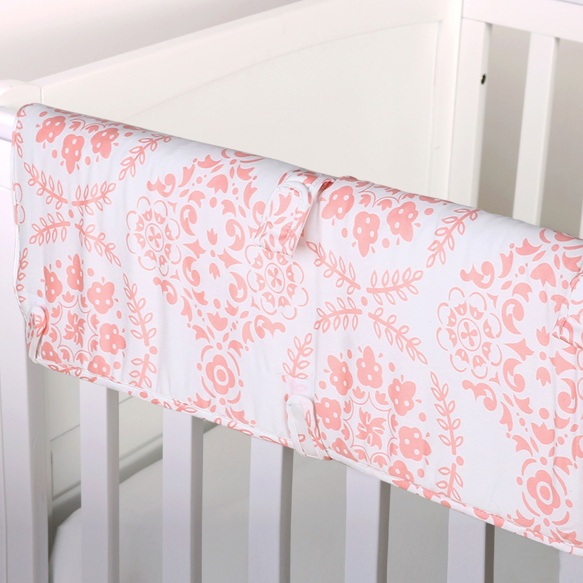Coral Pink Medallion 100% Cotton Padded Crib Rail Guard by The Peanut Shell by The Peanut Shell