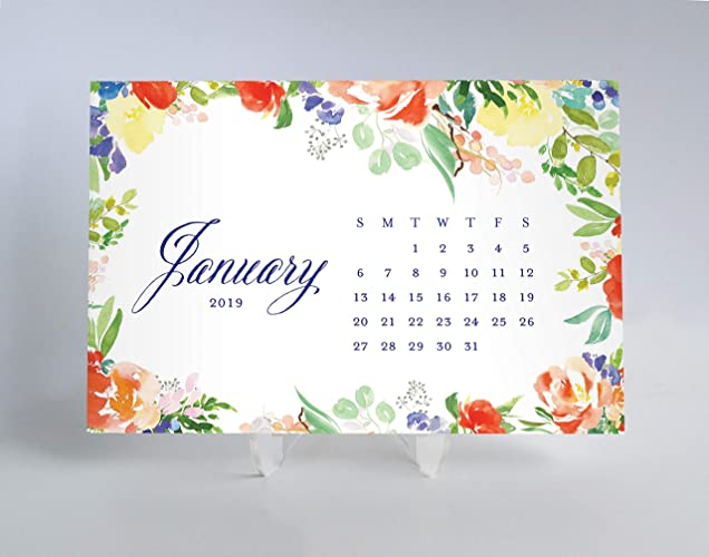 picture relating to Pretty Calendars called : 2019 Table Calendar Planner Playing cards Timetable