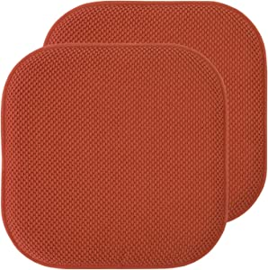 "Sweet Home Collection Chair Cushion Memory Foam Pads Honeycomb Pattern Slip Non Skid Rubber Back Rounded Square 16"" x 16"" Seat Cover, 2 Pack, Rust"