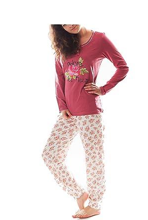 d883ee7eec Damen Pyjama Schlafanzug Baumwolle Knopfleiste Langarm DW901 Farbe rot:  Amazon.de: Bekleidung