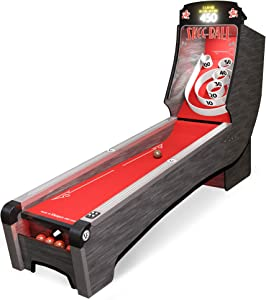 Skee-Ball Arcade Game for Home, with 5 Heavy Woodgrain Balls, Colored Cork Ramp - Electronic Skee Ball Machines with Rubber Targets, Multiple Game Modes for 1-6 Players