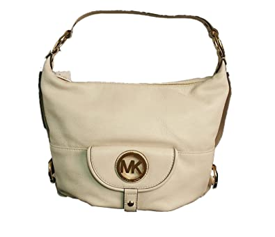 180378bdc14d Michael Kors Fulton Large Vanilla Off-White Leather Shoulder Bag  Handbags   Amazon.com