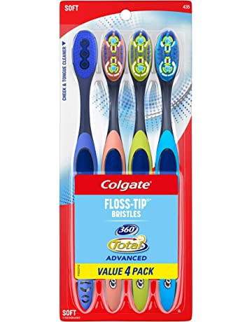 Colgate 360° Total Advanced Floss-Tip Bristles Toothbrush, Soft - 4 Count