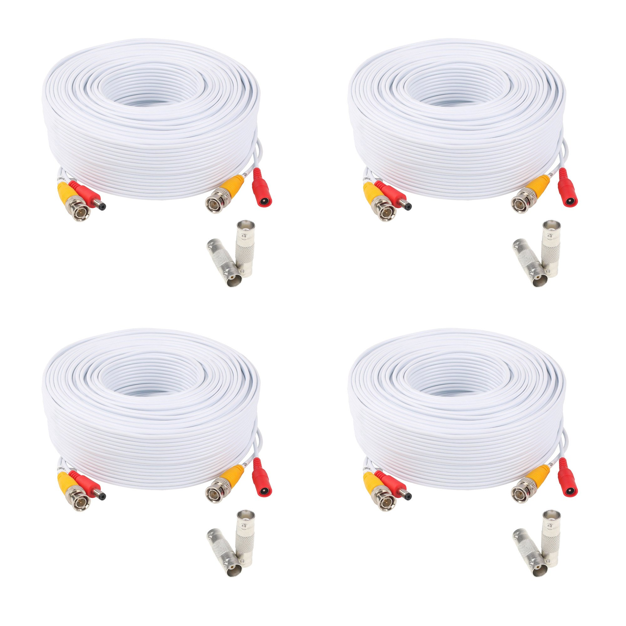 (4) 200ft Pre-Made All-in-One Siamese BNC Video and Power Cable Wire Cord with BNC Extension Connectors for CCTV Security Camera & DVR (4 Pack, 200 Feet, White)