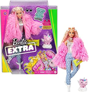 Barbie Extra Doll #3 in Pink Fluffy Coat with Pet Unicorn-Pig, Extra-Long Crimped Hair, Including Candy Bar Clutch & Gummy Bear Ring, Multiple Flexible Joints, Gift for Kids 3 Years Old & Up