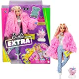 Barbie Extra Doll #3 in Pink Fluffy Coat with Pet Unicorn-Pig, Extra-Long Crimped Hair, Including Candy Bar Clutch & Gummy Be