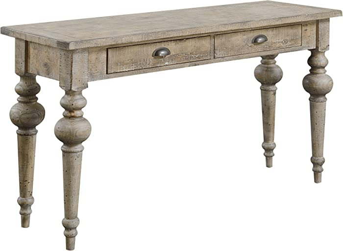 Emerald Home Interlude Sandstone Gray Sofa Table with Two Drawers, Plank Style Top, and Turned Legs Grey/Standard//Rectangle/Casual/Rectangle