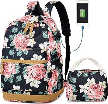Sac /à Dos pour Filles,Mode Floral Coll/ège Sacs /Étudiant /École Sac /à Dos Voyages Daypacks 14 Pouces Ordinateur Portable Sac
