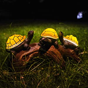 pearlstar Solar Outdoor Statues Turtle on Log Yard Decor, Waterproof Figurine Light Garden Decorations Lawn Ornaments for Patio, Backyard