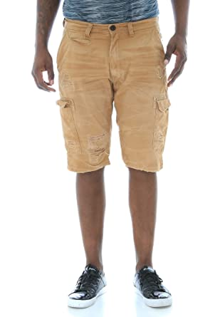 fdbf4b9f66 Jordan Craig Men's Flat Front Ripped Twill Cargo Shorts | Amazon.com