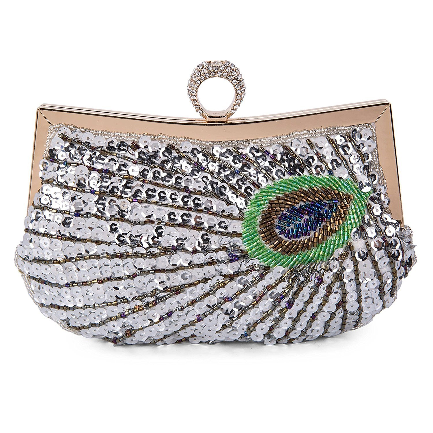 Baglamor Women Full Shining Sequins Beaded Rhinestone Peacock Embroidery Clutch Purse Handbag Evening Bag (Silver)