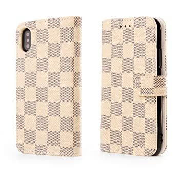 0e67ac0623 Alians iPhone X iPhone Xsケース 手帳型 チェック柄 シンプル 財布型 カードポケット マグネット