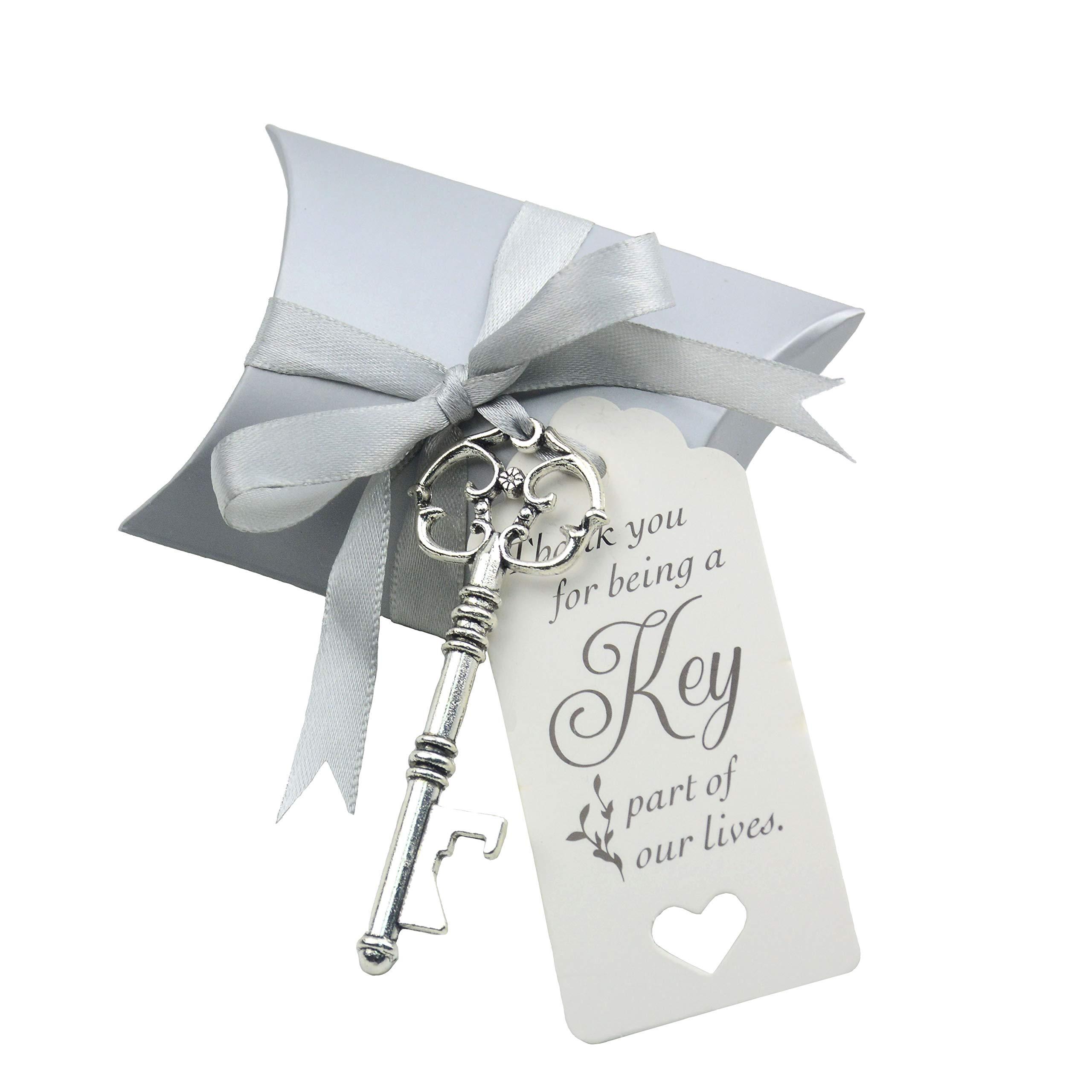 50pcs Wedding Favor Souvenir Gift Set Pillow Candy Box Vintage Skeleton Key Bottle Openers Escort Gift Card Thank You Tag French Ribbon (Antique Silver)