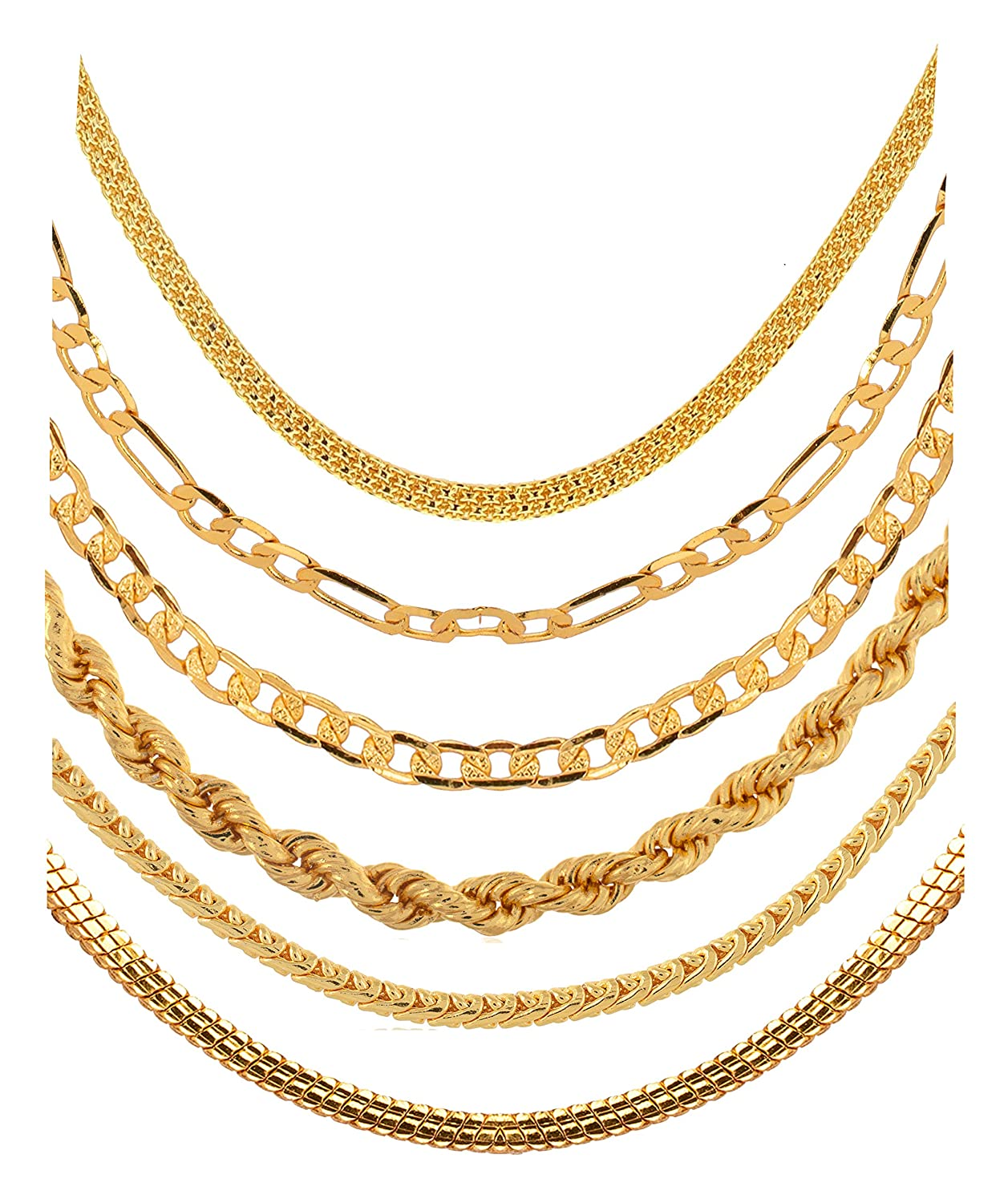 265195adda8 AanyaCentric Golden Heavy and Long Gold-Plated Statement Necklace/Neck  Chains Without Pendant Lockets for Men and Women -Combo Pack of 6:  Amazon.in: ...