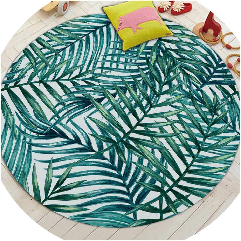 Las alfombras redondas para Sala Verde Tropical Impreso sala Alfombras silla del dormitorio Aseo Bañera Decorar no Slip Mat puerta, diámetro 6,100cm