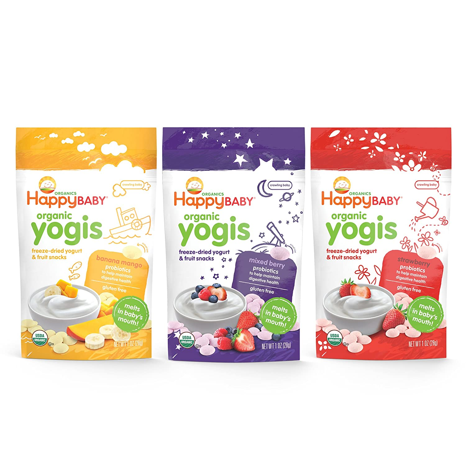Happy Baby Organic Yogis Freeze-Dried Yogurt & Fruit Snacks 3 Flavor Variety Pack, 1 Ounce Bag (Pack of 6) Banana Mango, Mixed Berry, Strawberry, Easy to Chew Probiotic Snacks for Babies & Toddlers Nurture Inc. 01382