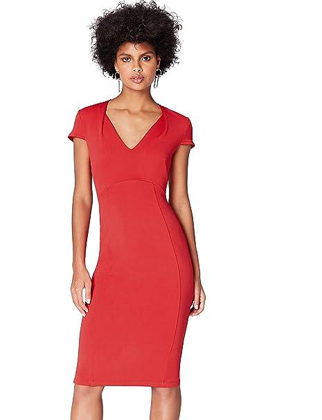 a573ecad8477 13645 vestito da sera donna, Rosso (Red), 40 (Taglia