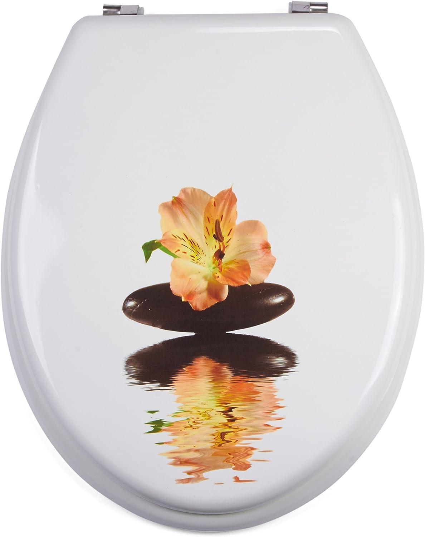 hochwertige und stabile Qualit/ät MSV WC Sitz Toilettendeckel MDF HolzkernBorneo Scharniere aus Edelstahl