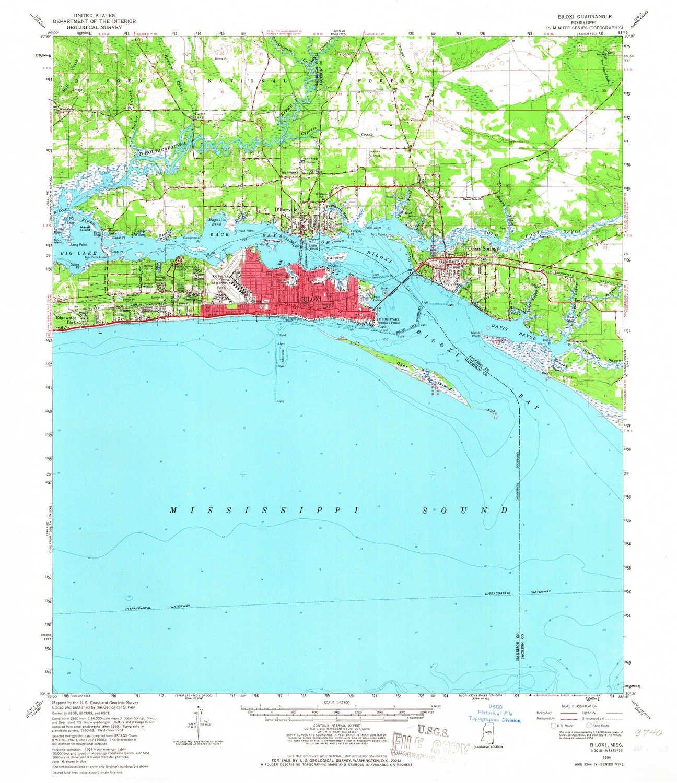 Topographic Map Mississippi.Amazon Com Yellowmaps Biloxi Ms Topo Map 1 62500 Scale 15 X 15