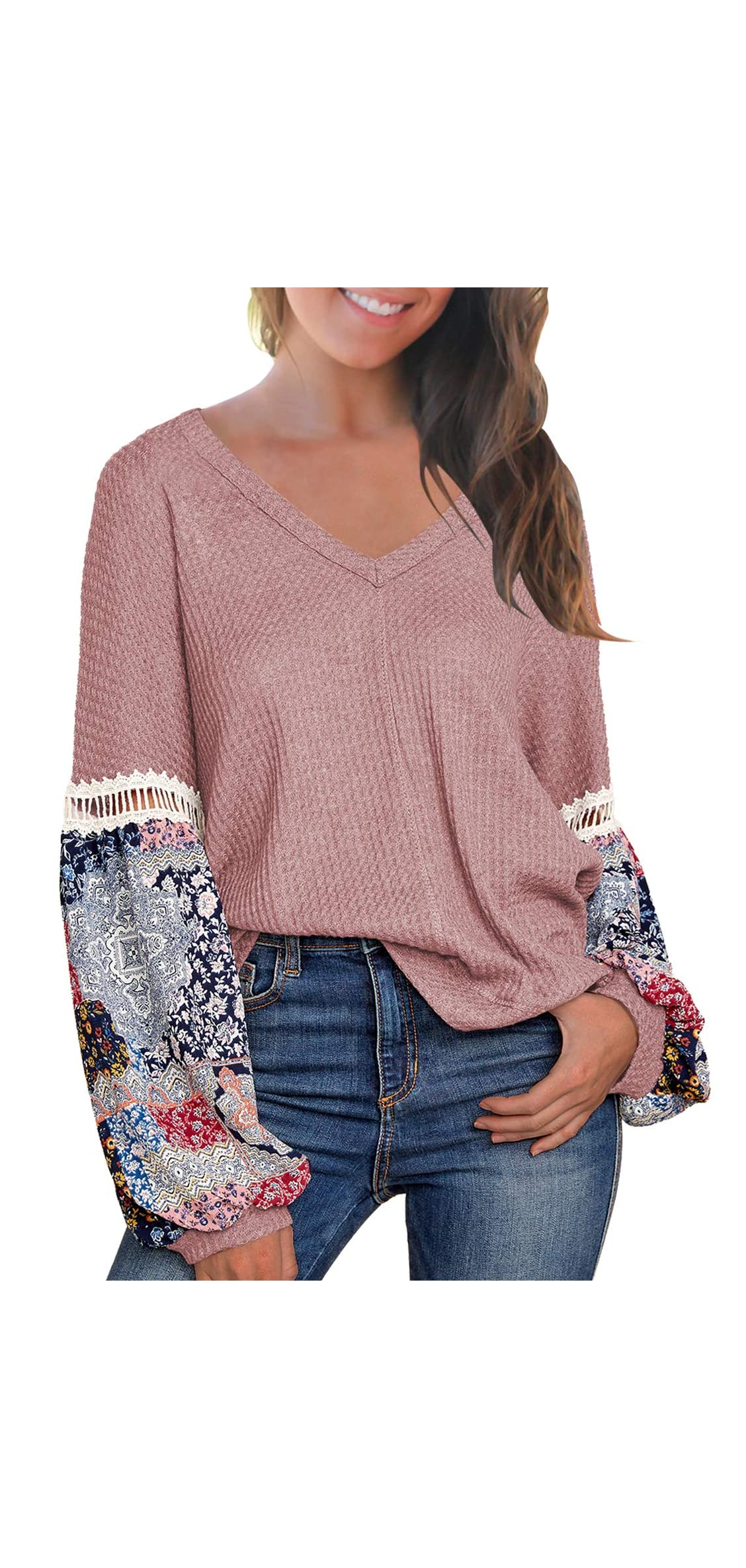 Women's Casual Tops Printed Long Sleeve V Neck T Shirts