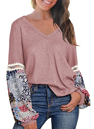 8f823dc962f23 MIHOLL Women's Casual Tops Printed Long Sleeve V Neck T Shirts Loose Pullover  Sweater at Amazon Women's Clothing store: