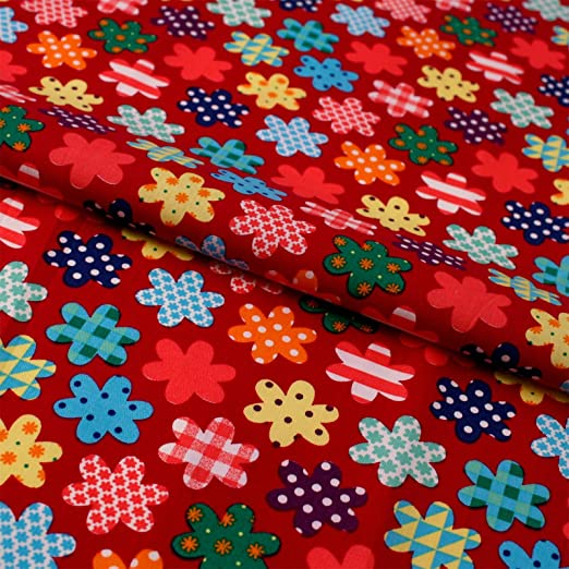 Flores estampado rojo algodón tela Popelina tela infantil: Amazon ...