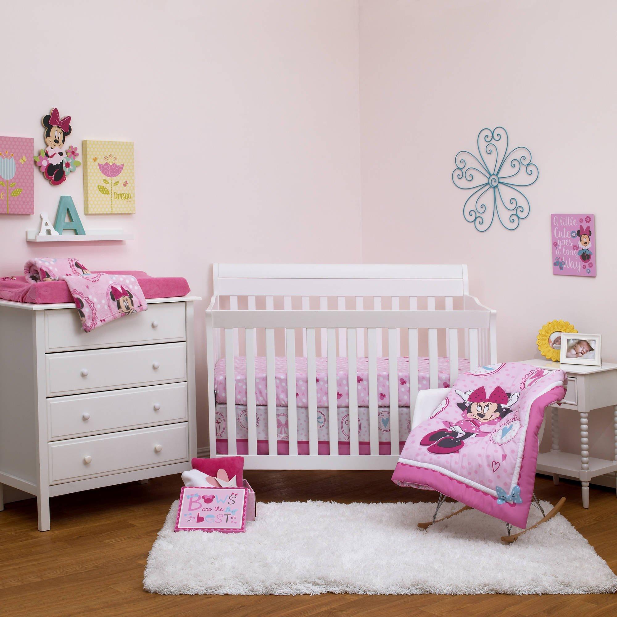 UK 4 Piece Pink Blue Girls Baby Minnie Mouse Crib Bedding Set, Newborn Disney Themed Nursery Bed Set Infant Child Animals Cartoon Animation Bows Hearts Blanket Comforter Polka Dot Pattern, Polyester