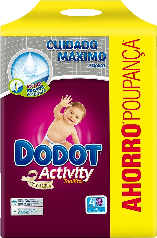 Dodot - Activity Toallitas - 4 paquetes 216 toallitas - Pack de 3 (Total 648 toallitas): Amazon.es: Salud y cuidado personal