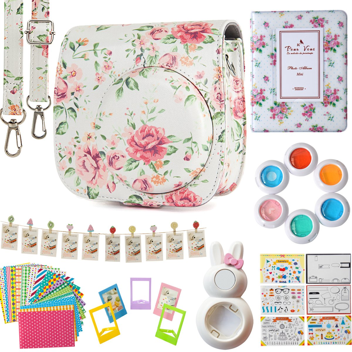 Flylther 8 dans 1 Caméra Accessories Bundle Set pour Fujifilm Instax Mini 8 8+ 9 Appareil Photo - Fleur blanche(Housse/Album/Lentille Selfie/6 Couleurs Lens/Photo Pendre/Coloré Cadres Film/Stickers Film/Autocollants de Films DIY)
