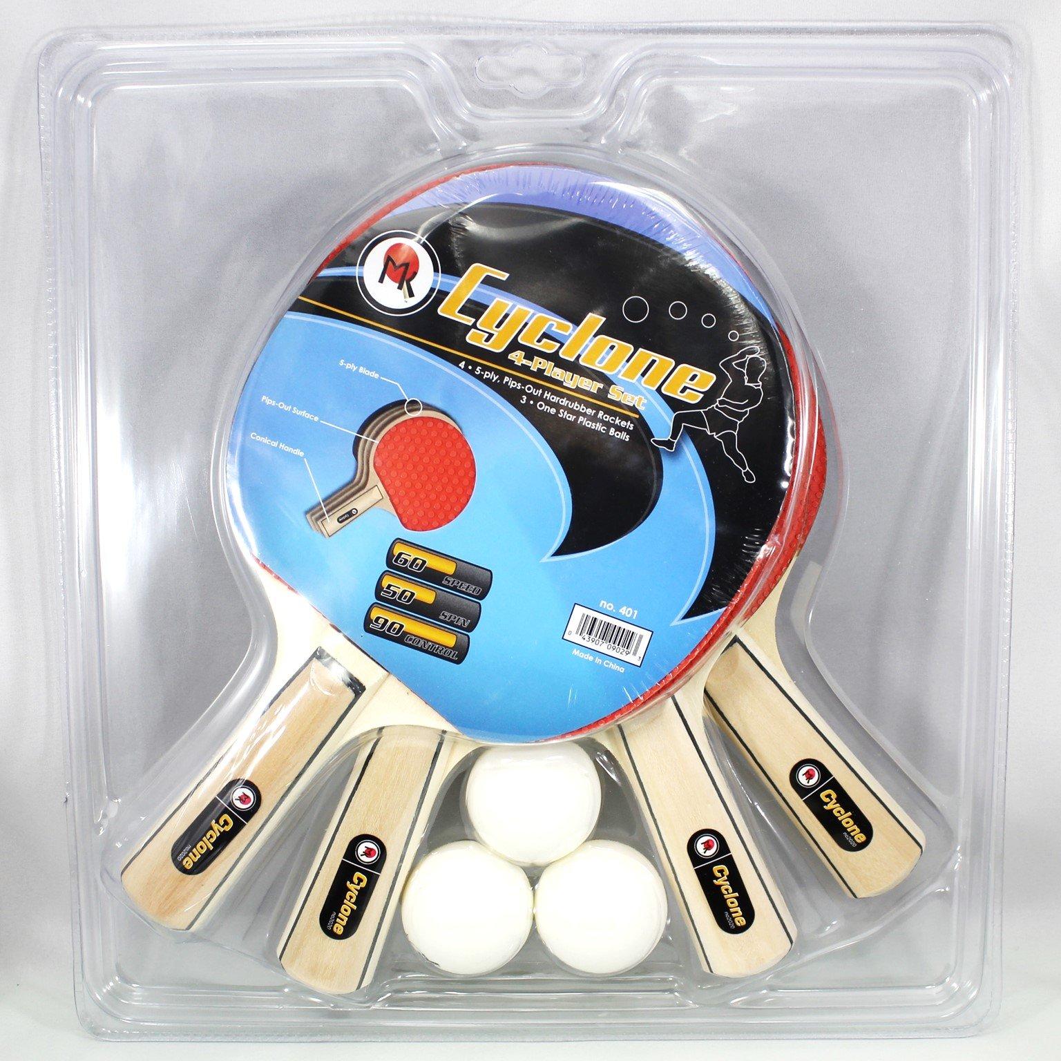 Martin Kilpatrick Cyclone 4 Player Table Tennis Racket Set - 4 Paddles - 3 Ping Pong Balls - Net Set