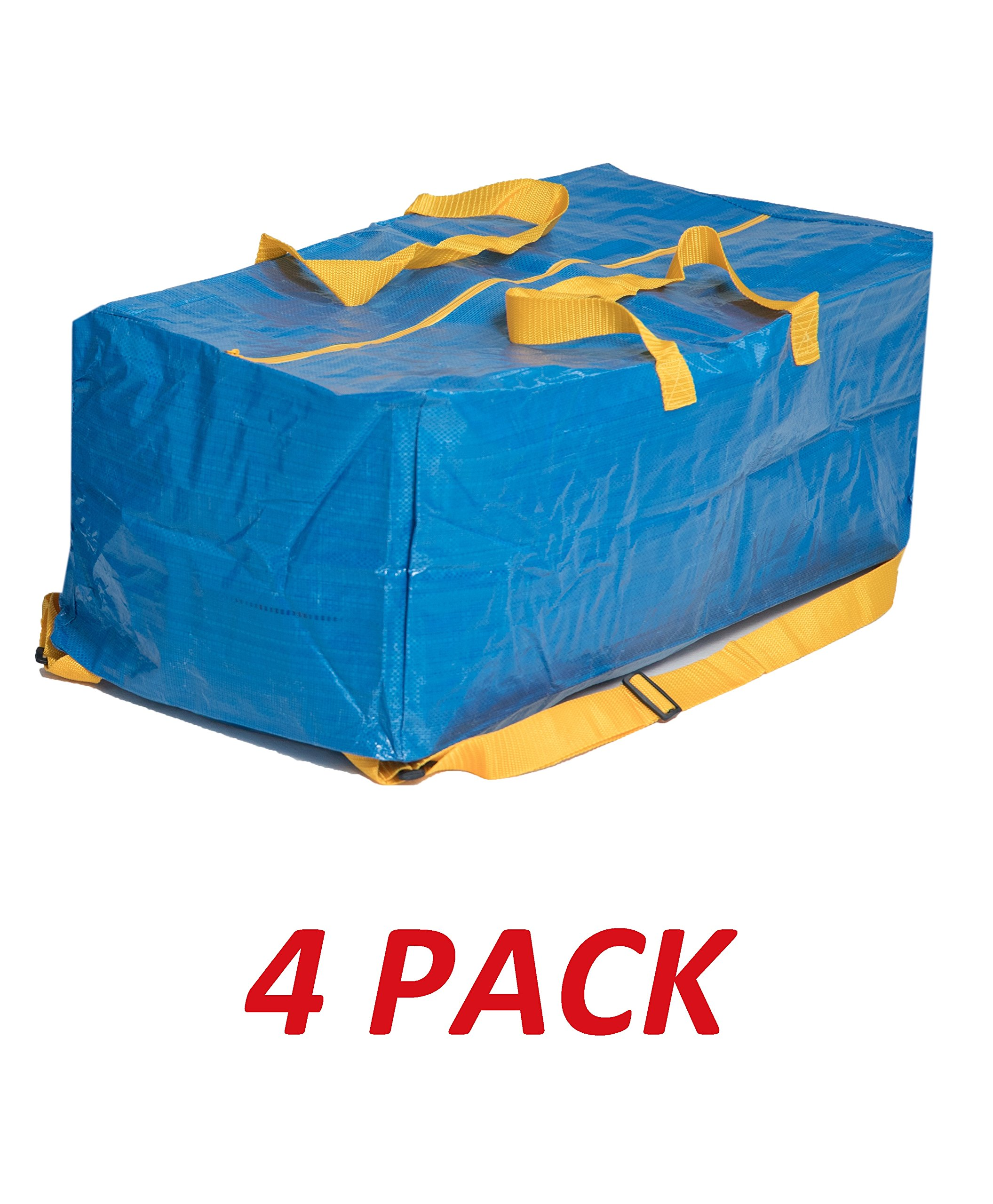 Klickpick Home Heavy Duty Reusable Extra Large Storage Bags -Pack of 4, Laundry Bag Shopping Moving Totes Bags Underbed Storage Bins Zipper -Backpack Handles,Compatible with IKEA FRAKTA CART- Blue by Klickpick Home (Image #1)