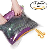 Amazon Price History for:12 Travel Storage Bags for Clothes - Compression Bags for Travel - No Vacuum Sacks-Save Space in your Luggage