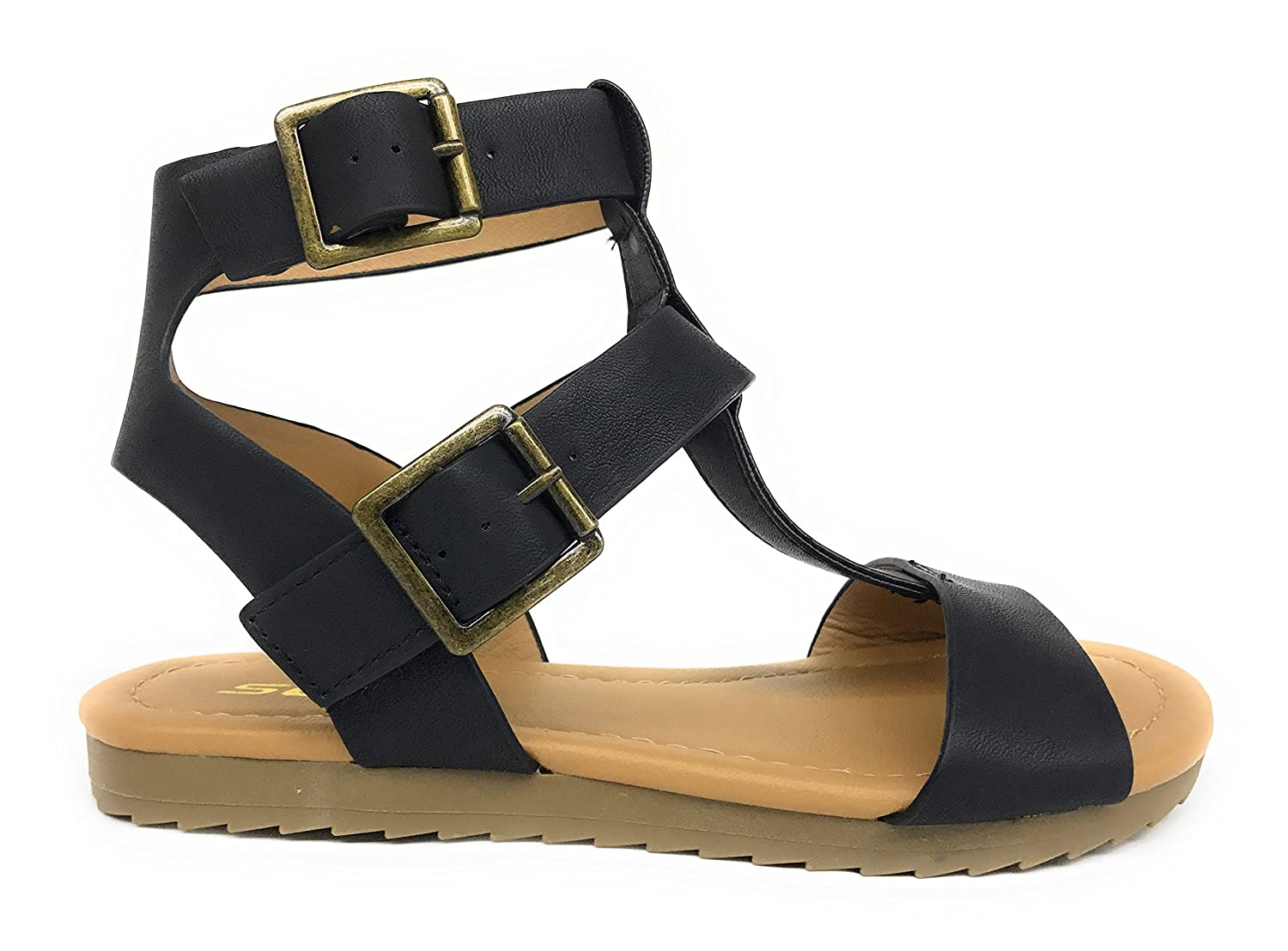 SODA Toddler//Little Kid Girls Gladiator Strappy Ankle Double Buckle Sandals Zilla