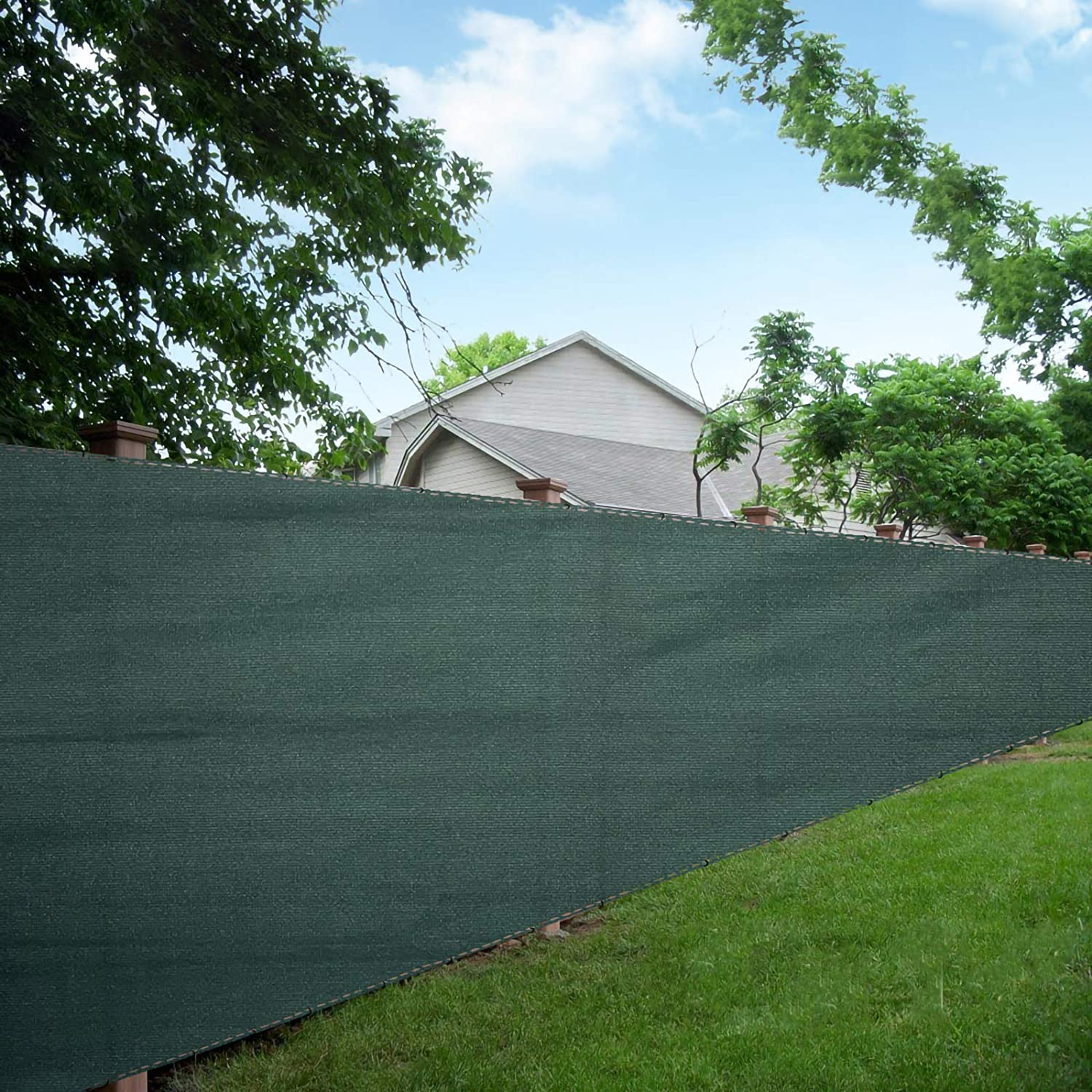 LOVE STORY 6'x8' Dark Green Shade Fabric Fence Privacy Screen Coverage for People,Pet,and Home Cover Outdoor or Exterior UV Protection