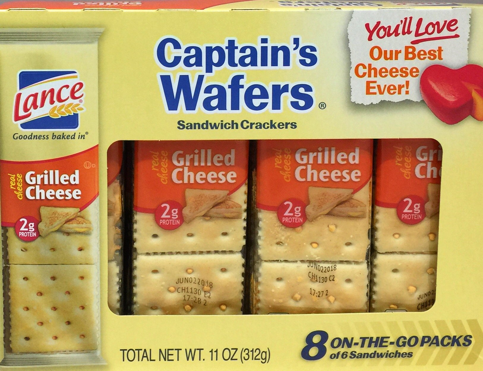 Lance Captains Wafers Crackers Grilled Cheese 8 Count (Pack of 3)