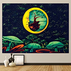 Tuoyung Tapestry for Bedroom, Moon Mushroom Trippy Wall Decor, Psychedelic Tapestry, Perfect for Wall Art, Living Room, 78.74×59.05 Inch