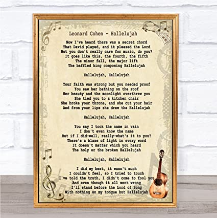 Amazon Leonard Cohen Hallelujah Song Lyric Vintage Quote Print