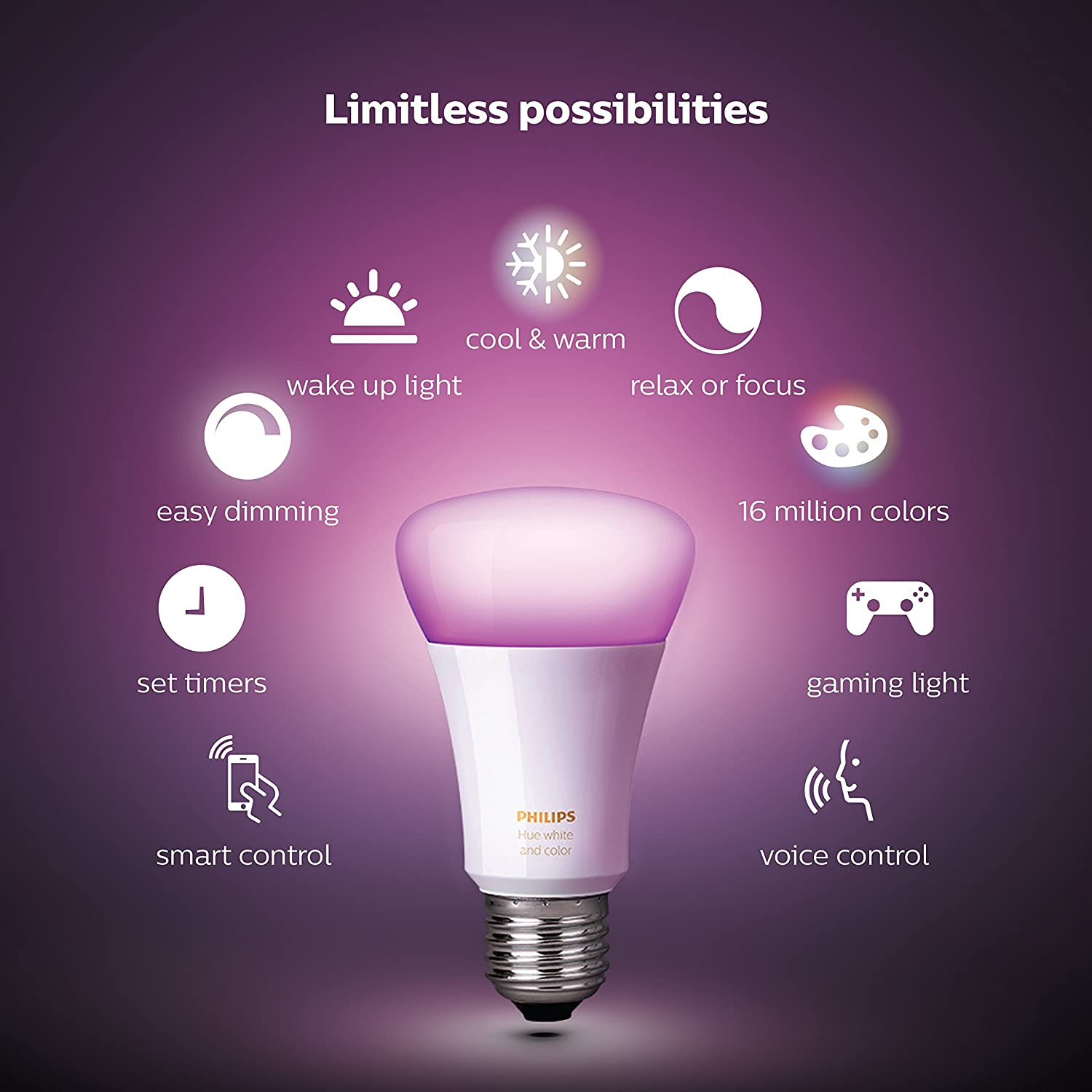 Philips Hue White And Color Ambiance A19 60W Equivalent LED Smart Light Bulb Starter Kit, 2 A19 Bulbs And 1 Bridge, Works With Alexa, Apple HomeKit And Google Assistant