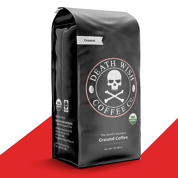 DEATH WISH COFFEE Dark Roast Coffee Grounds