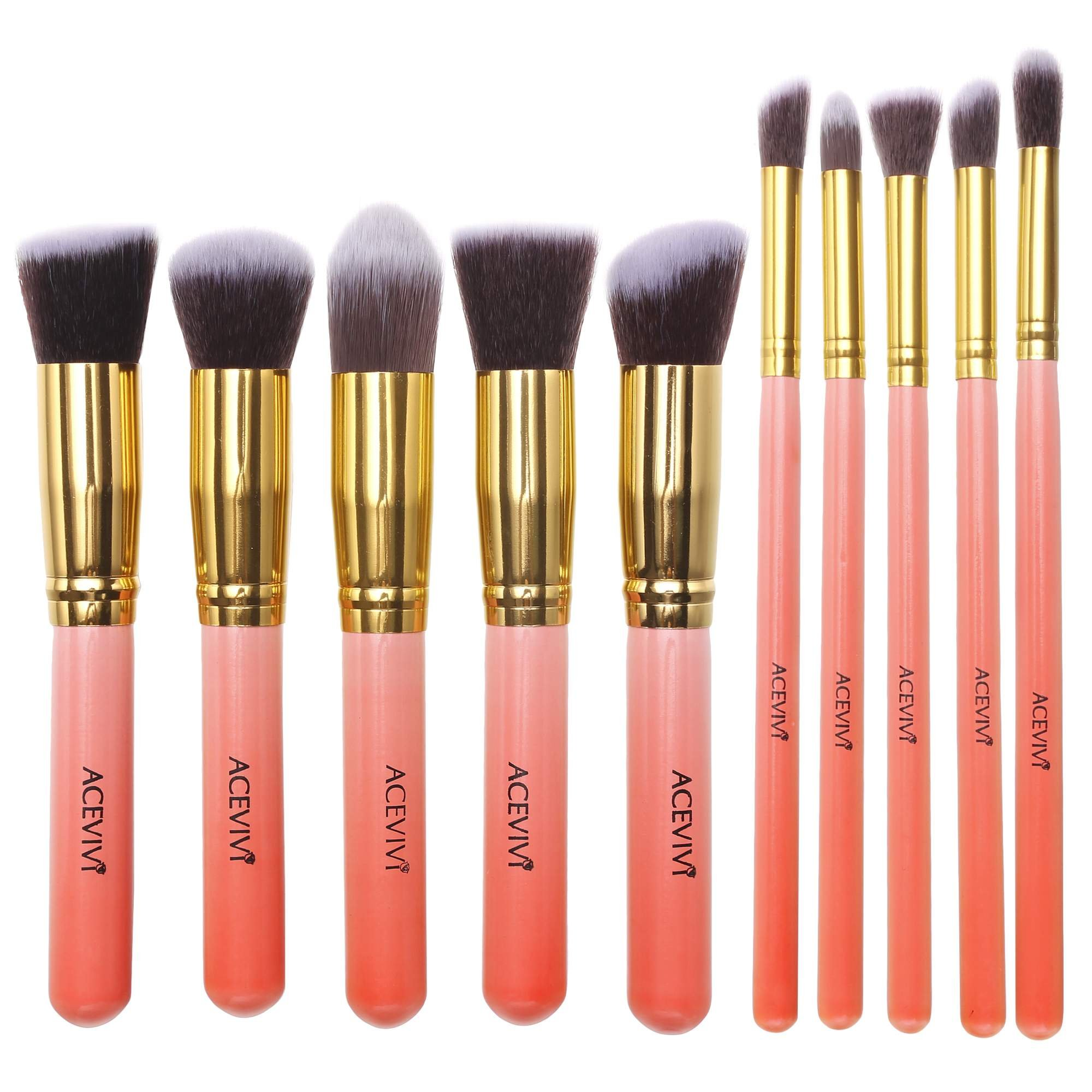ACEVIVI Makeup Brushes - 10 PIECE Premium Makeup Brush Kit Bamboo Handle Synthetic Kabuki Foundation Cosmetic Brushes for Powder Liquid Cream