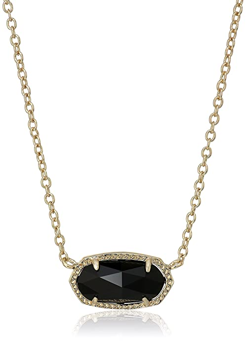 "Kendra Scott ""Signature"" Elisa Gold plated Black Glass Pendant Necklace, 15"" + 2"" Extender"