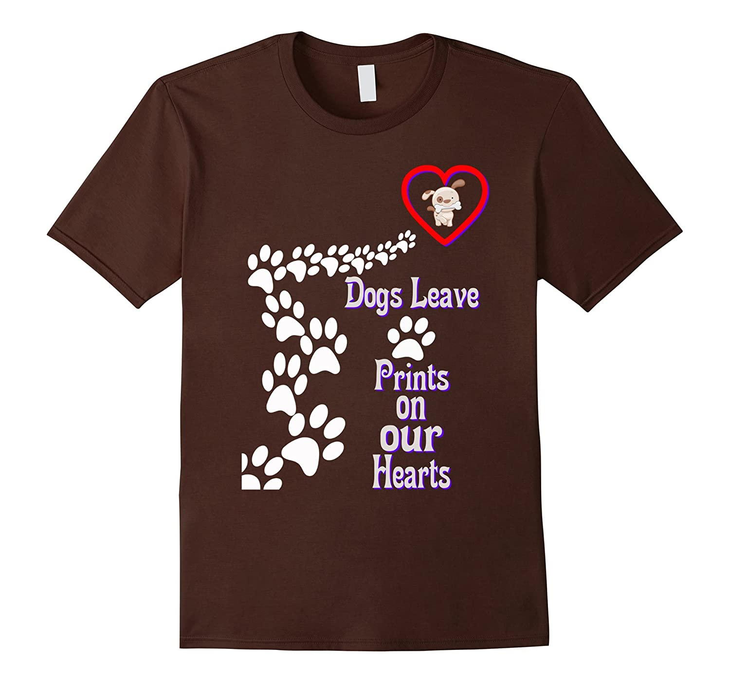 dogs leave prints on our hearts - i love pets tshirt-CD
