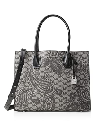 11f871e8b6380a Amazon.com: MICHAEL Michael Kors Mercer Paisley Large Bag , Black Grey:  Clothing
