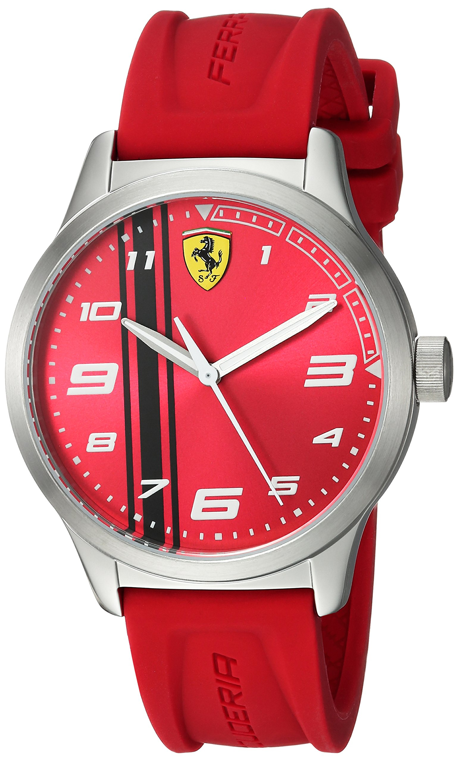 Ferrari Boy's 'Pitlane' Quartz Stainless Steel and Rubber Casual Watch, Color:Red (Model: 810014)