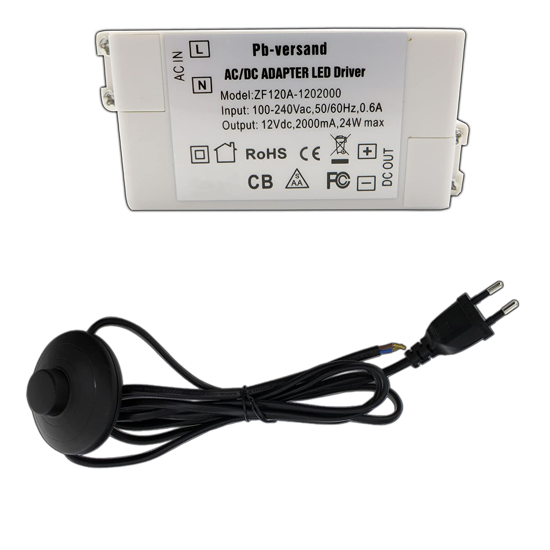 LED Trafo 0 - 24 Watt 12V DC mit schwarzem Netzkabel und Schalter ...